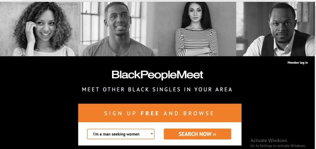 Black People Meet homepage