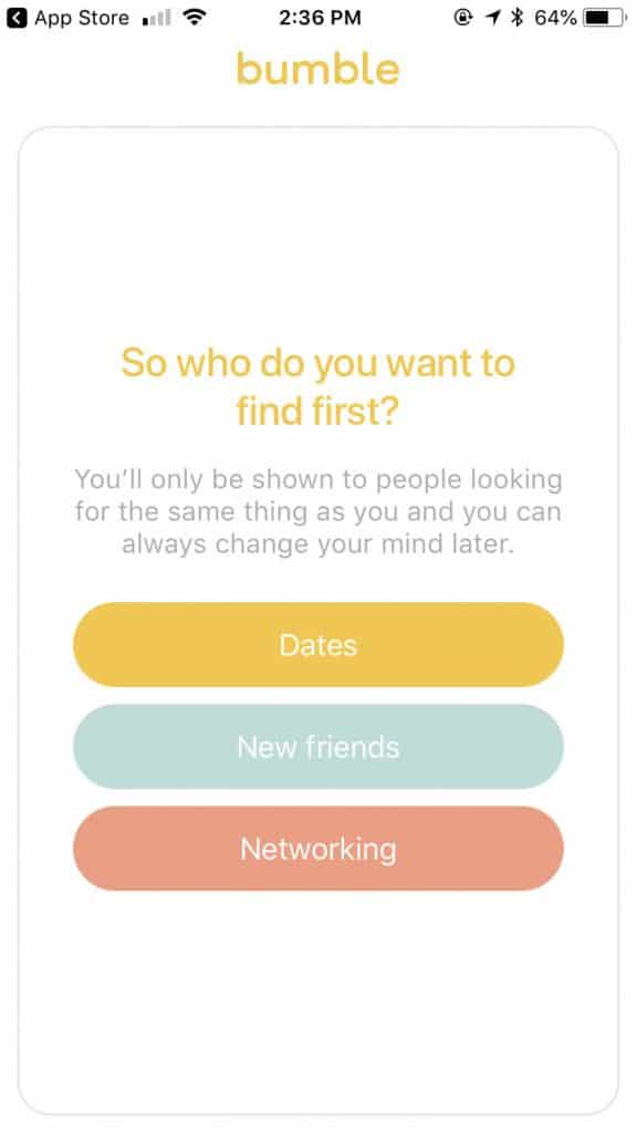 bumble online dating app - what are you looking for