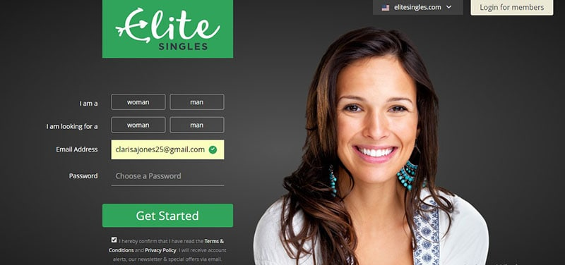 EliteSingles dating website home page